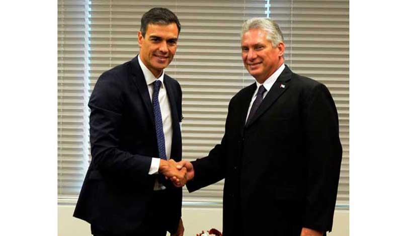 Presidente cubano se reúne en ONU con jefe del Gobierno español
