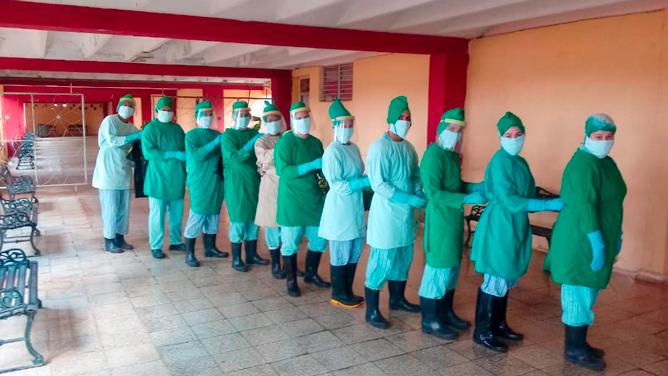 Trabajadoras del Centro de aislamiento